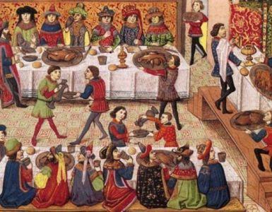 Sirvientes en un banquete medieval