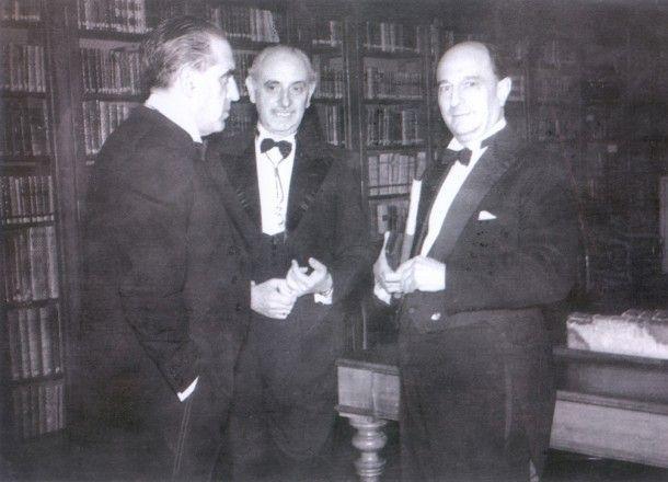 Esteban Terradas, Gregorio Marañón y José María Pemán (centro)