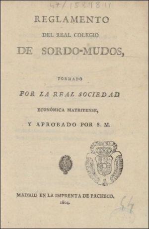 Reglamento del Real Colegio de Sordo-Mudos