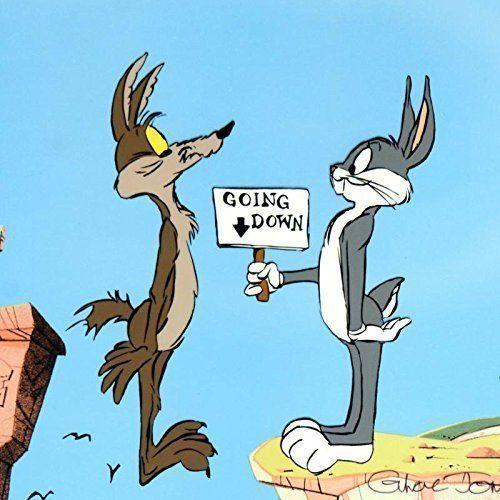 Coyote y Bugs Bunny. La fuerza de la gravedad está cuando interesa.