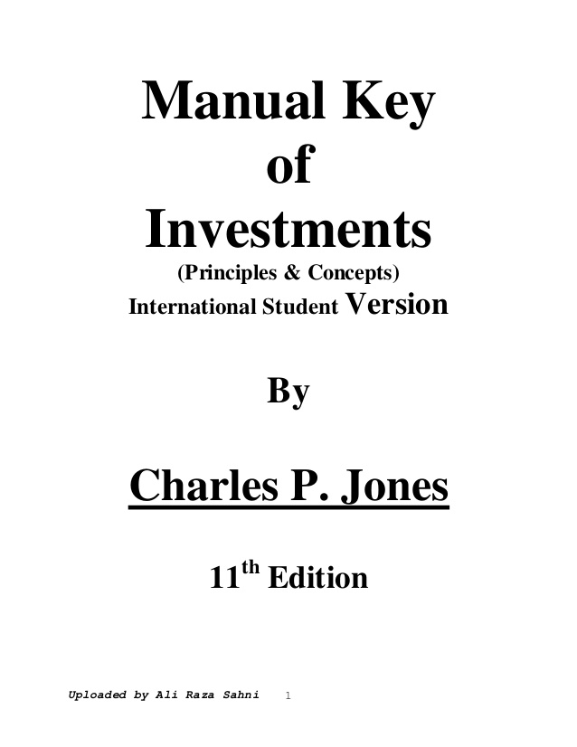 Investment By Charles P Jones 11th Edition Pdf