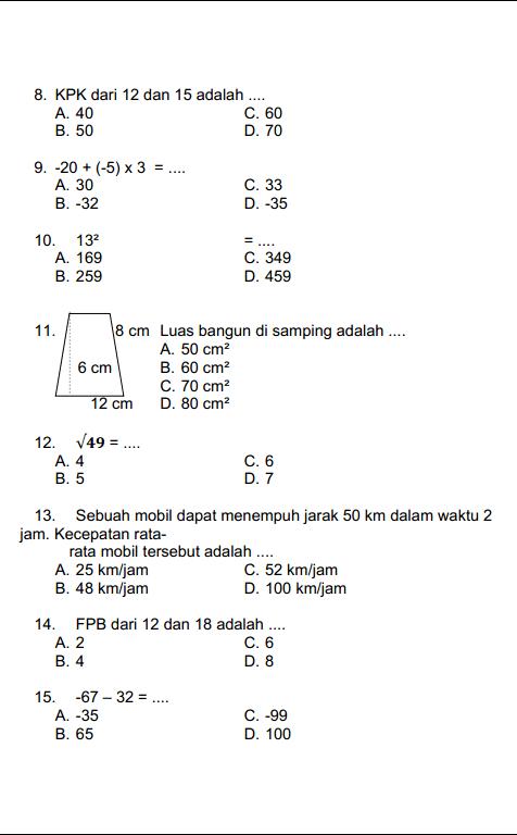 Soal Ujian Sd Kelas 5 : ujian, kelas, Matematika, Kelas, Ganjil, Lasopadate