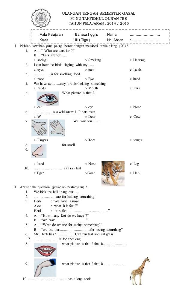 Soal Uas Kelas 3 Sd Semester 2 : kelas, semester, Bahasa, Inggris, Kelas, Lasopaskate