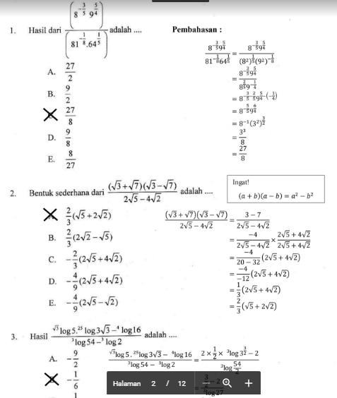 Bentuk sederhana dari \sqrt{15 + \sqrt{224}} adalah … a. Soal Ujian Matematika Lasopavin
