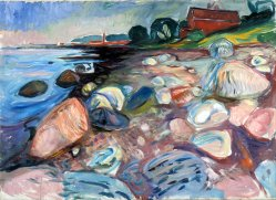 Edvard Munch, shore with red house.