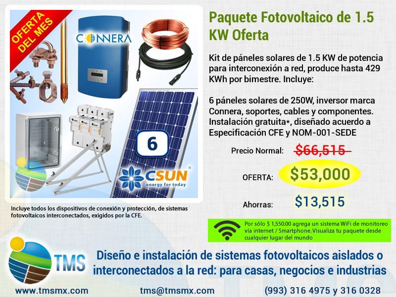 Oferta Paquete de Paneles Solares www.tmsmx.com