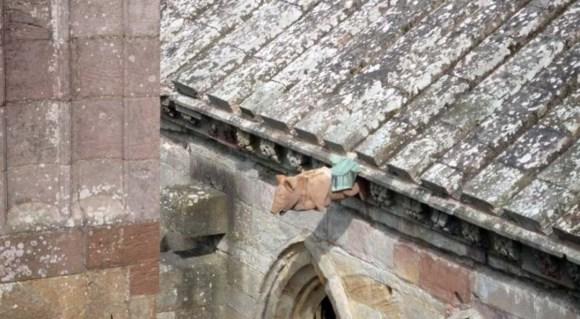 Gótico Inglés decorado. Cerdo tocando la gaita. Abadía de Melrose, Escocia