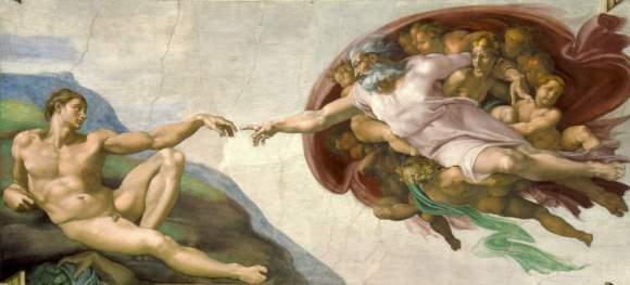 Arte renacentista: La creación de Adán, Miguel Ángel Buonarroti entre 1508-1512.