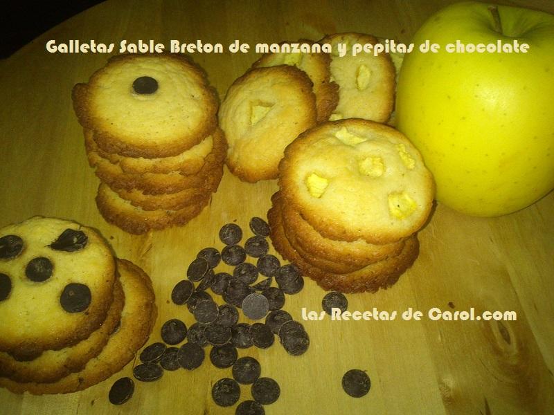 galletas de manzana y pepitas de chocolate