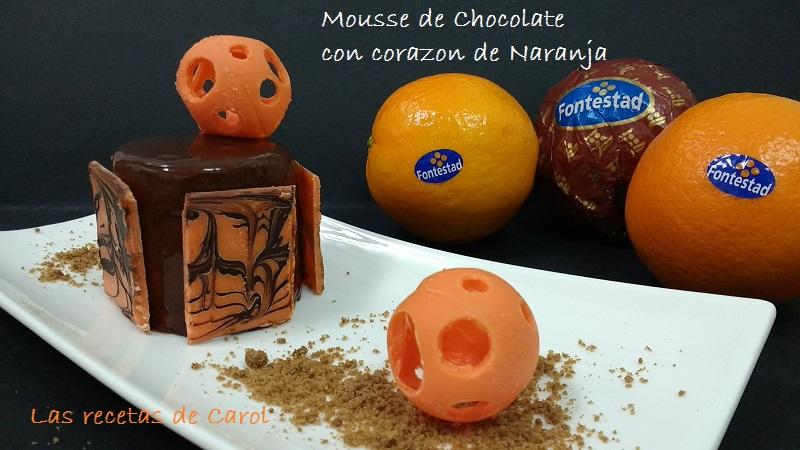 Mousse de chocolate, crema de naranja y glaseado