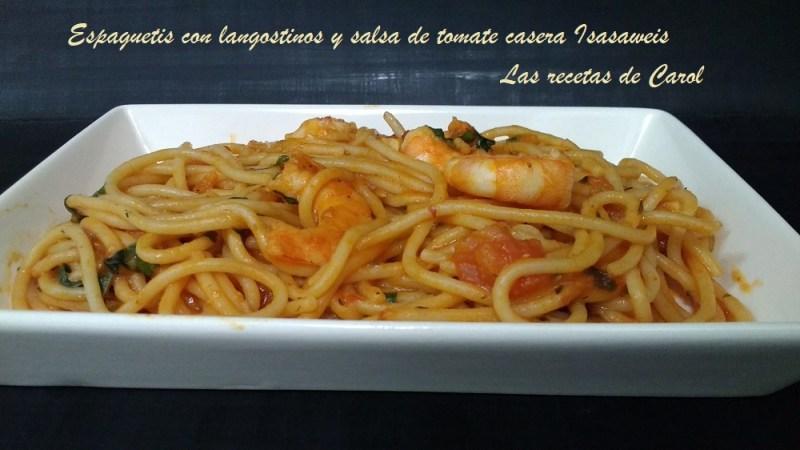 Espaguetis con langostinos