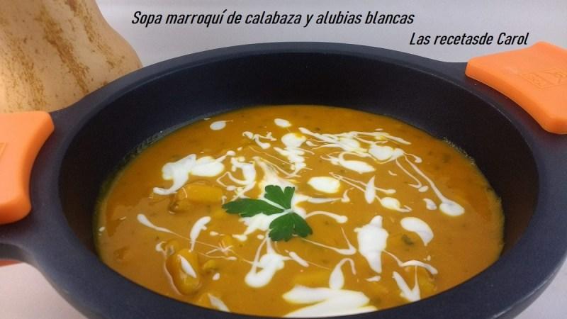 Sopa de marroquí de calabaza y alubias