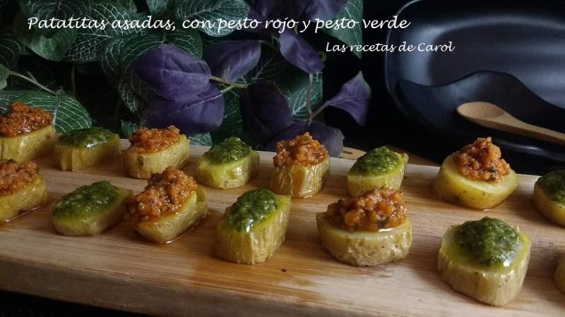 Patatitas con pesto rojo y verde