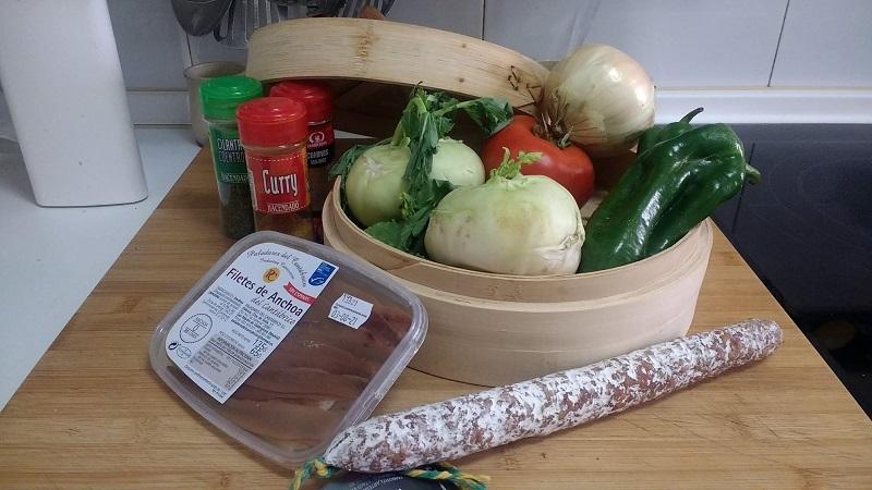 Colinabo con verduras salteadas