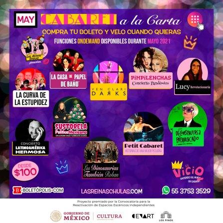 Cabaret a la Carta con Las Reinas Chulas, mayo 2021