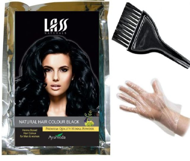 Lass Naturals Hair Colour Black Natural Henna Powder With Hair Nourishment And Deep Conditioning Properties G