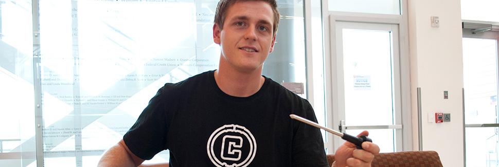 "Alex Karr, founder of U student startup, ""Char Poles""."