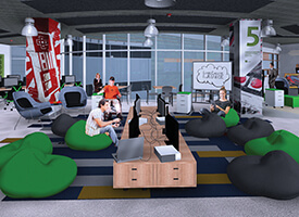Mockup of game area available to students at Lassonde Studios.