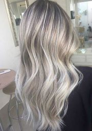 ash blonde balayage and silver