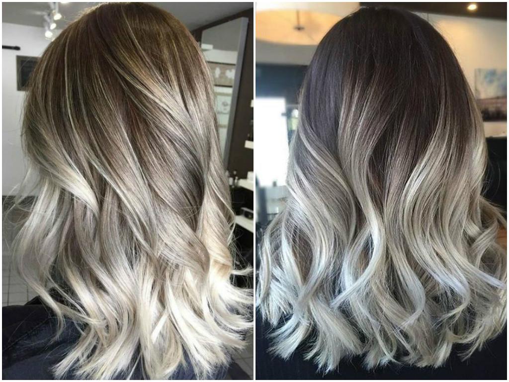 Ash Grey Balayage On Black Hair Of Silver Ash Gray Hair