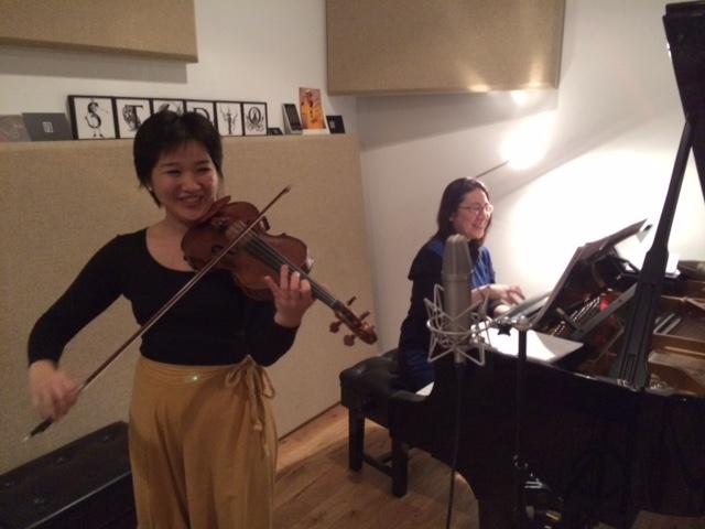 Kumi preparing to record Schumann Romances!