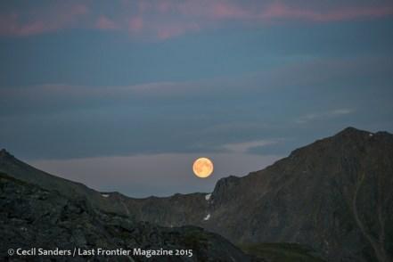 A super moon above the Talkeetna Mountains.