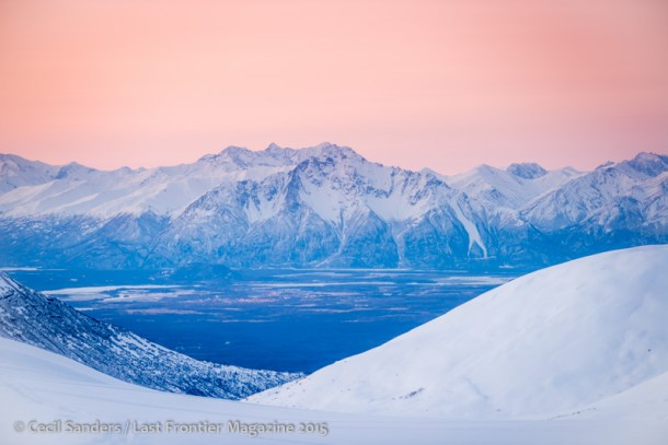 The Chugach Range with mid-winter color in the sky.