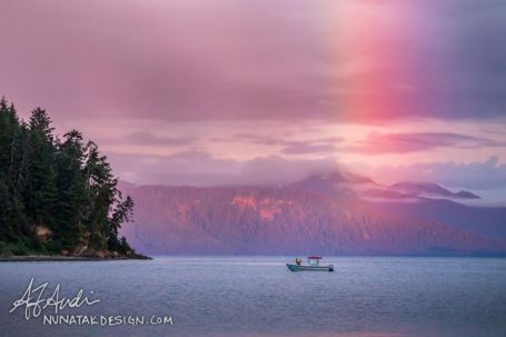 In Southeast Alaska, we'd much rather find our skiffs at the end of the rainbow than a pot of gold. Taken at the Porpoise Islands in Icy Strait. Photo credit: Nunatak Design / http://nunatakdesign.com/