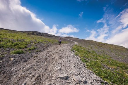 Anne heading down the scree. - Copyright 2016   Cecil Sanders Photography