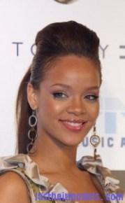 rihanna with quiff ponytail