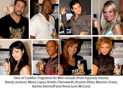 Joey Fatone, Randy Jackson, Mario Lopez, Kristen Chenoweth, Krysten Ritter, Maurice Green, Kristina Smirnoff and Anna Lynn McCord rally for Cadillac Fragrance for Men!