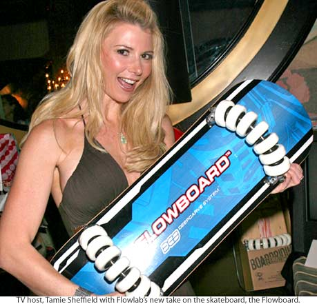 Tamie Sheffield with her new flowboard
