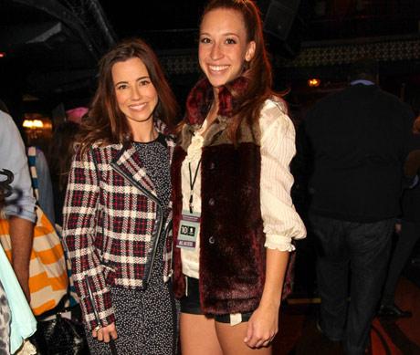 EMMY nominated actress Linda Cardellini rocking an iiJin motorcyle jacket with fashion model Jasmine McGerr from iiJin