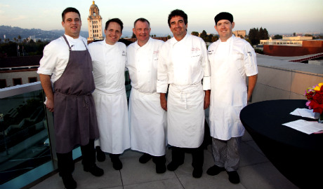 Chefs L to R: Brandon Weaver, Chef de Cuisine of The Roof Garden, The Peninsula Beverly Hills, Gabriel Ask, Executive Chef Montage Beverly Hills, Chris O'Connell, Executive Banquet Chef and Thomas Henzi, Executive Pastry Chef, The Beverly Hilton and Andrew Adams, Culinary, L'Ermitage Beverly Hills.