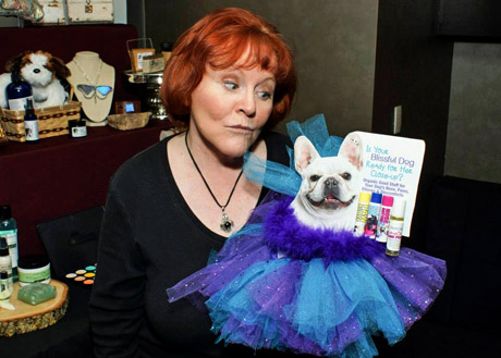 Actress Edie McClurg with Blissful Dog