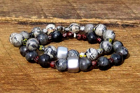 Cosmic Duo - Larvakite Scenery Jasper and Czech Glass Stacking Bracelets Set