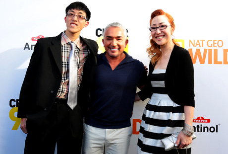 Winnie Chin and Kevin Li with Cesar Millan.