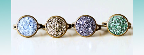 Crushed Crystal Druzy Rings by Bashful Owl Jewelry