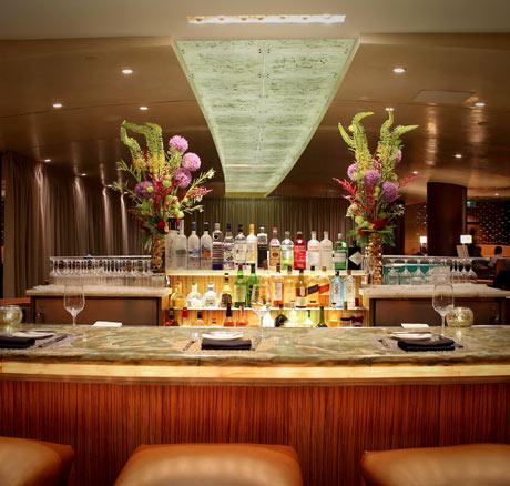 The beautiful centerpiece bar at Breeze