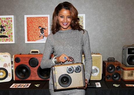 Claudia Jordan with Boom Case