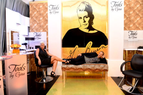 Gina Rivera, owner of Tools by Gina and Lash Fary, Founder of Distinctive Assets hanging out at the GRAMMY Gift Lounge during The 58th GRAMMY Awards at Staples Center on February 12, 2016 in Los Angeles, California