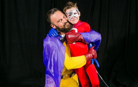 Brian Austin Green with Miracle Kid Nathan Ferrell. Photo: Albert Evangelista
