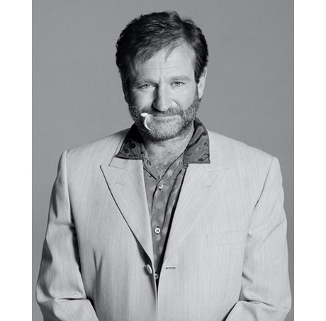 "Never-before-seen Timothy White photograph of Robin William from ""The Birdcage"" photo shoot."