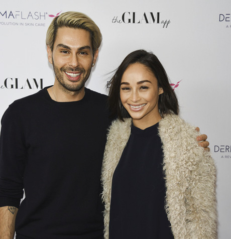 Glam app owners Joey Maloof and Cara Santana. at The Glam App x DERMAFLASH Host Pre-Oscars Suite at Peninsula Hotel on February 24, 2017 in Beverly Hills, California.