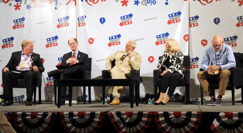 (L-R) Moderator Ken Rudin, Brad Sherman, Roger Stone, Jill Wine-Banks, and James Carville at 'Watergate: The Long View panel during Politicon at Pasadena Convention Center on July 29, 2017 in Pasadena, California. (Photo by Joshua Blanchard/Getty Images for Politicon)