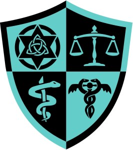 A teal and black shield shaped crest with four quadrants showing various symbols such as a scale, etc