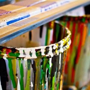 Drip buckets printmaking squeegee