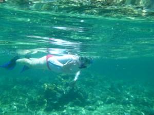 Lindsay snorkeling for lobster