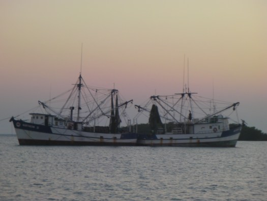 Two fishing trawlers tie up stern-to on anchor next to us