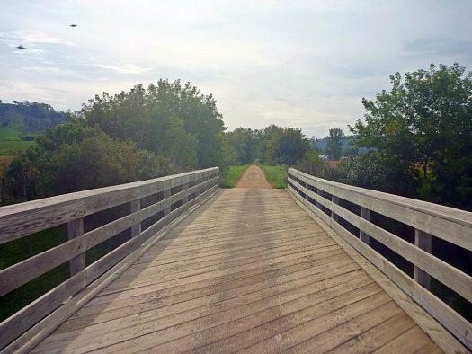 Sparta Elroy bike trail WOODEN BRIDGE